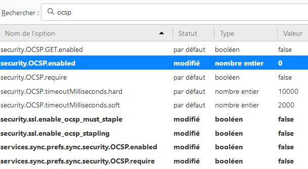 Firefox > about:config > security.OCSP.enabled > 0