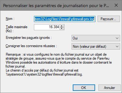 Personnaliser les paramètres de journalisation du pare-feu Windows