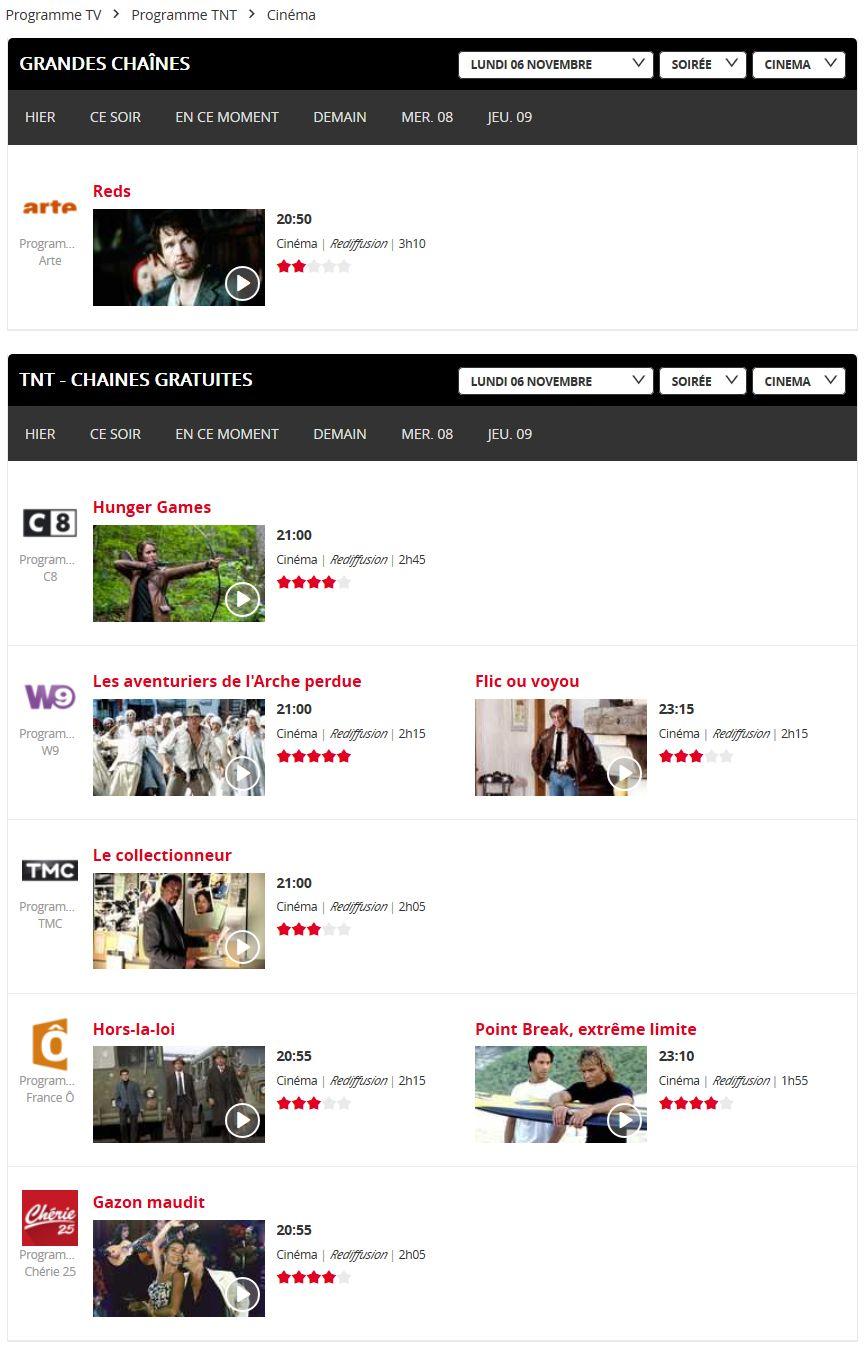 Programme TV : les films diffusés sur la TNT