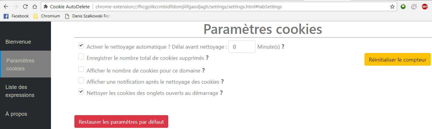 Cookie AutoDelete sur Chromium