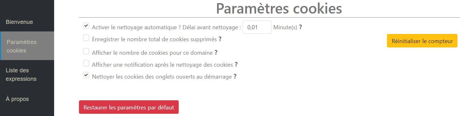 Cookie AutoDelete > Paramètres Cookies