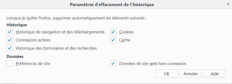 Firefox > Paramètres d'effacement d'historique