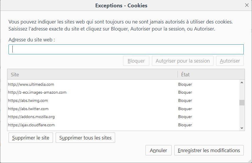 Gestion du blocage des cookies dans Firefox