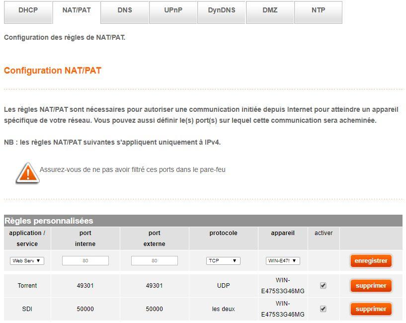 LiveBox > Configuration avancée > Configuration réseau > NAT/PAT