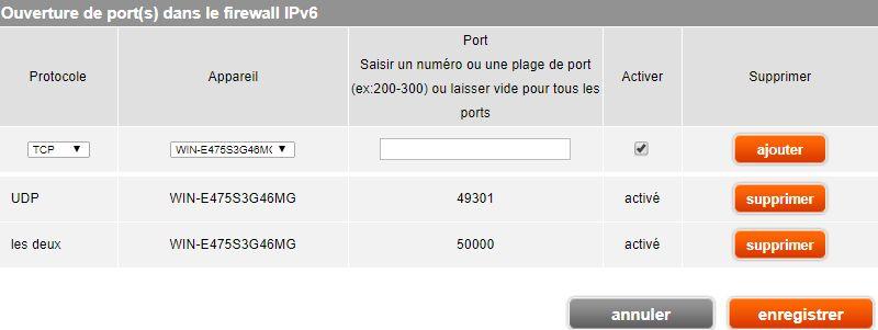 LiveBox > Configuration avancée > Configuration pare-feu