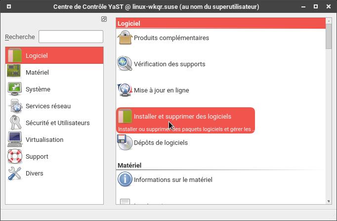 YaST > Logiciel > Installer et supprimer des logiciels