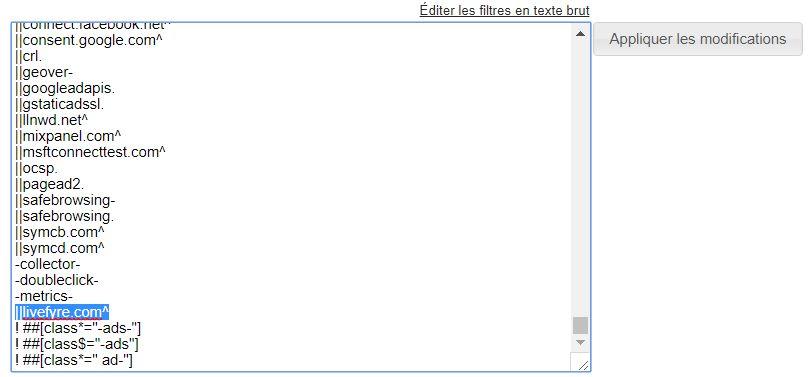 Outils développeur de Chromium > Editer les filtres en texte brut