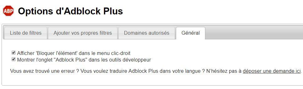 Options AdBlock Plus > Général