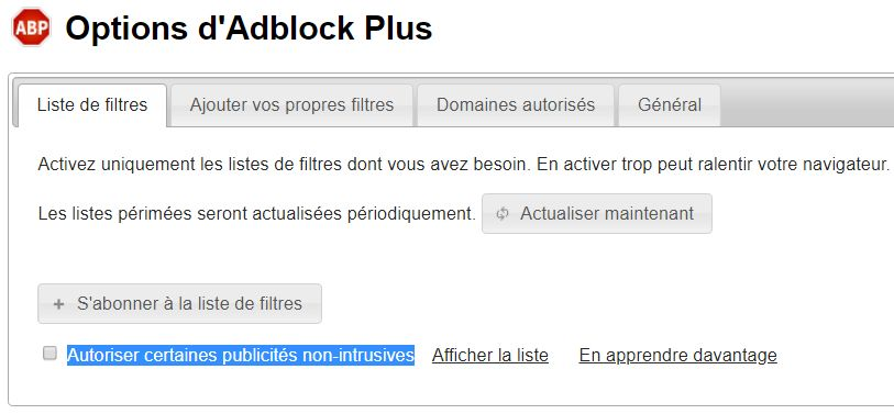 Options AdBlock Plus > Liste de filtres