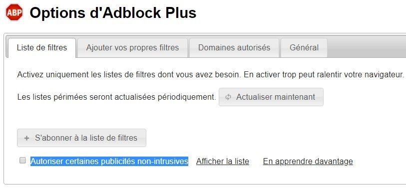 Options AdBlock Plus > Liste de filtres