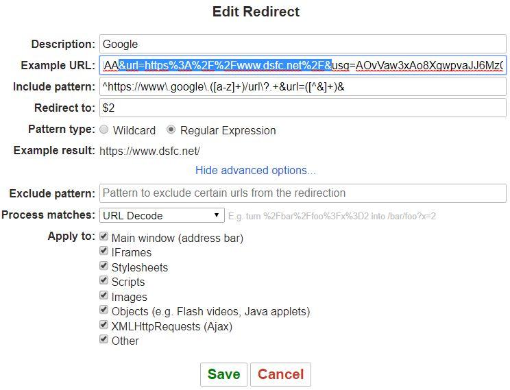 L'extension Redirector pour éviter le tracking de liens