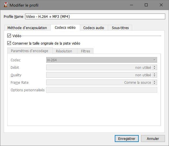 VLC > Modifier le profil > Codecs Vidéo