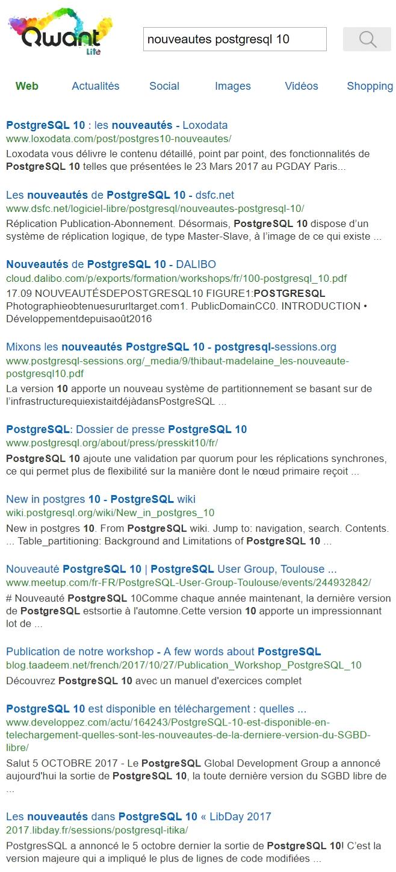 Recherche sur Nouveautés PostgreSQL 10 dans Qwant