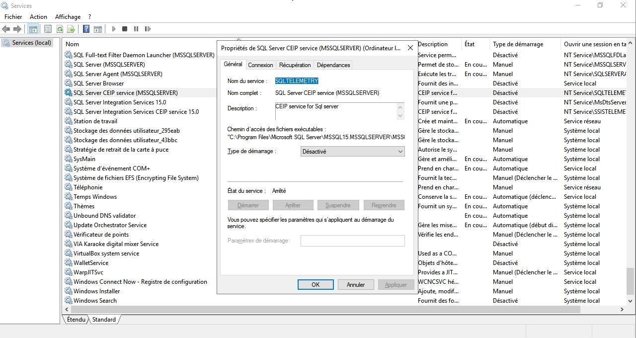 La console des services Windows