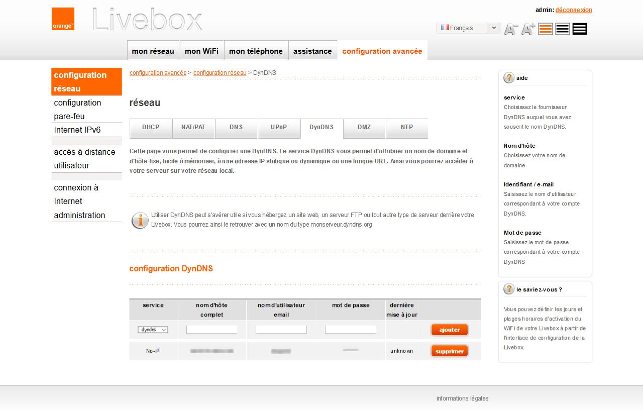 No-IP, seul service gratuit DynDNS au niveau de votre LiveBox
