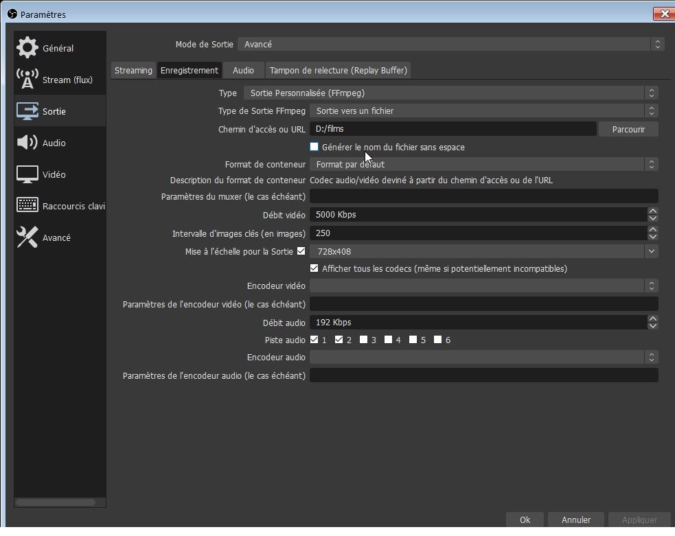 OBS Studio - Paramètres - Sortie - Avancé - Enregistrement