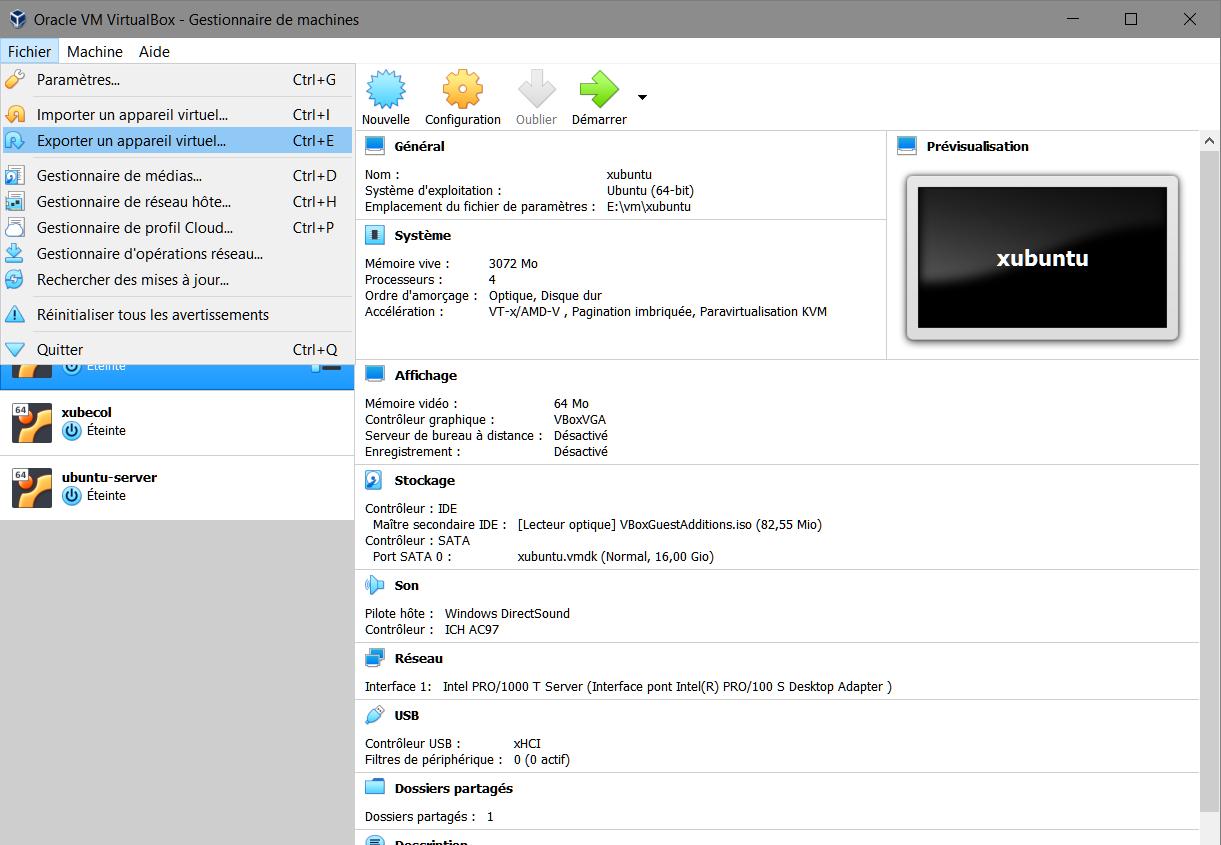 VirtualBox > Exporter un appareil virtuel