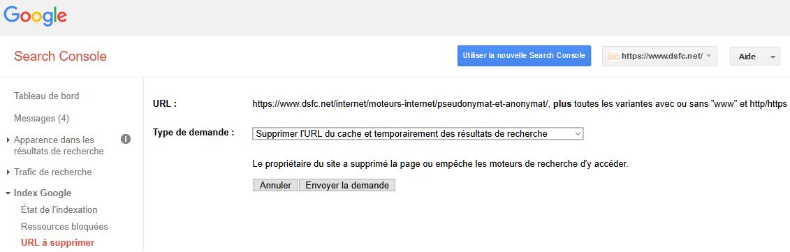 URL supprimée du cache et des résultats de recherche
