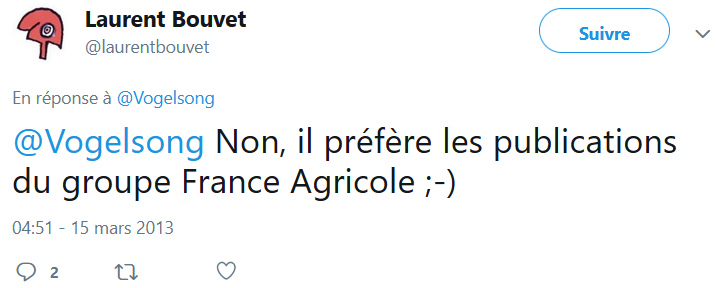 Laurent Bouvet confirme la relation de Vogelsong avec France Agricole