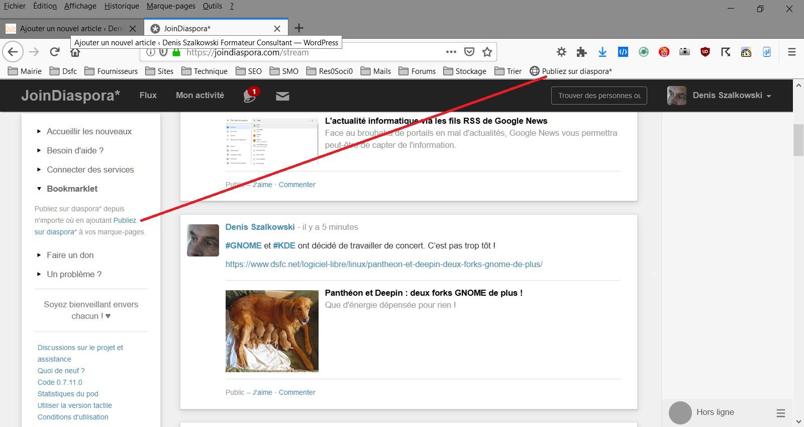 Installer le bookmarklet Diaspora dans la barre personnelle de Firefox