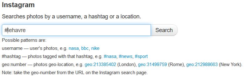 Fil RSS à partir d'une recherche dans Queryfeed sur un hashtag utilisé dans Instagram