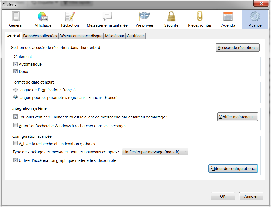 Thunderbird > Options > Avancé > Editeur de configuration