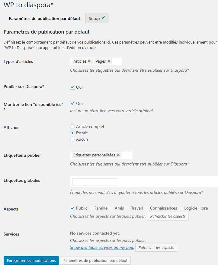 Réglages > WP to diaspora > Paramètres de publication par défaut