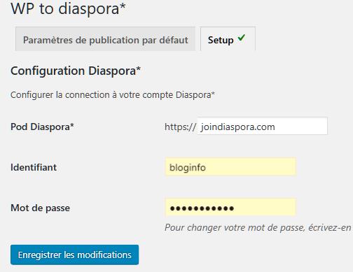 Réglages > WP to diaspora > Setup / Configuration Diaspora