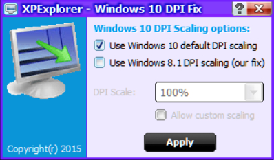 XPExplorer Windows 10 DPI Fix