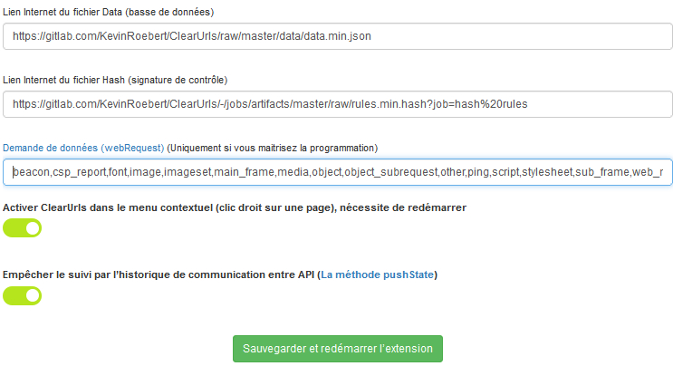 Configuration de l'extension ClearURLS