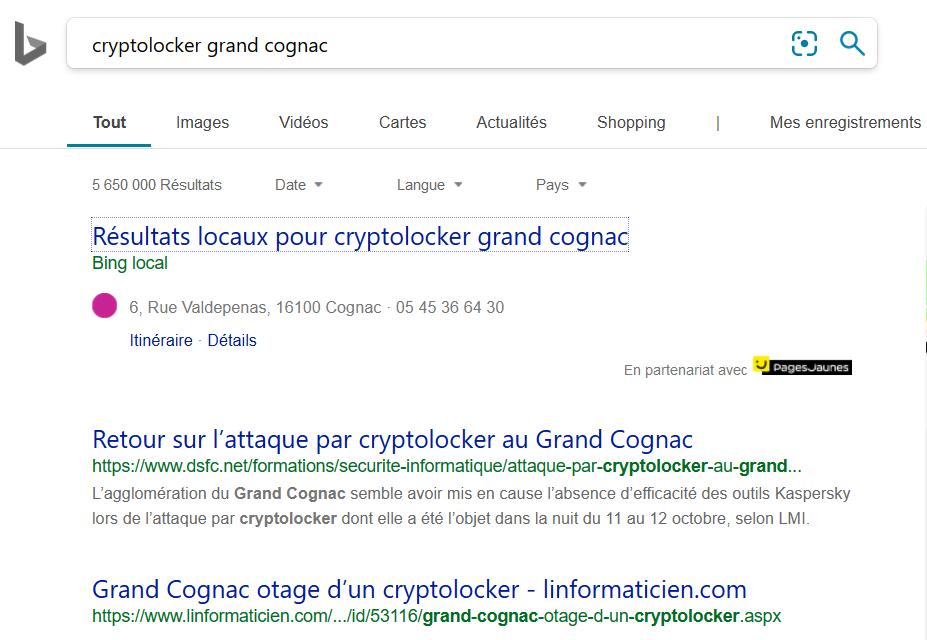 "Recherche sur ""cryptolocker grand cognac"" dans Bing"