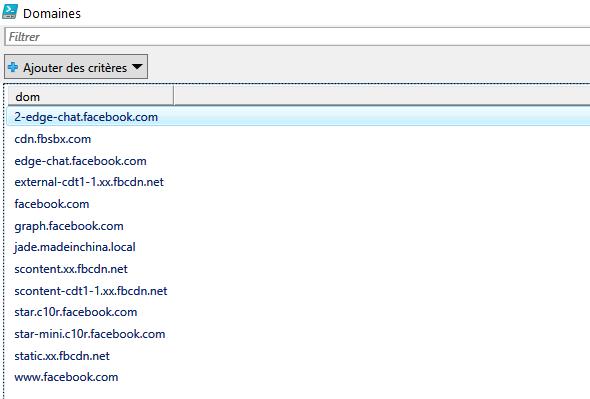Domaines extraits du fichier journal