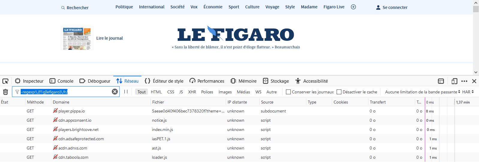Firefox : le filtrage d'urls dans les outils de développement par expressions régulières