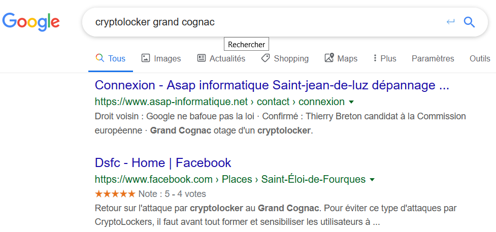 "Recherche sur ""cryptolocker grand cognac"" dans Google"