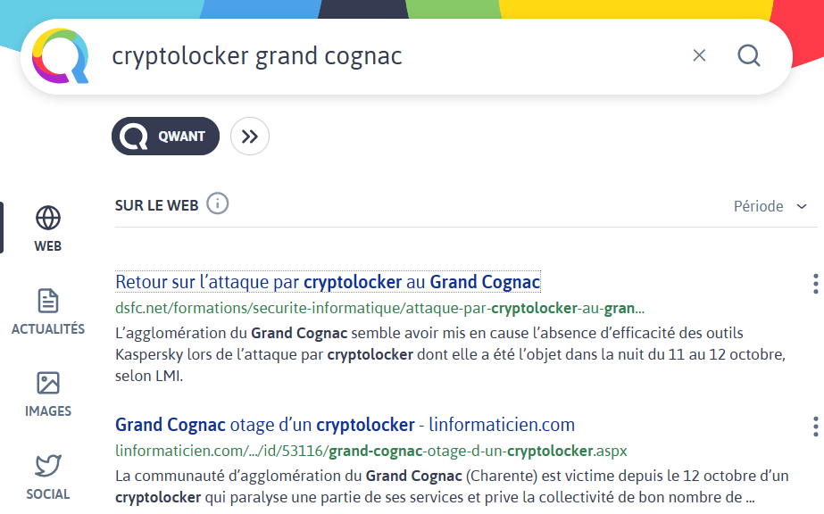"""Recherche sur """"cryptolocker grand cognac"""" dans Qwant"""