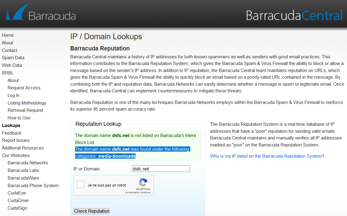 Barracuda > IP Domain Lookups > Barracuda Reputation