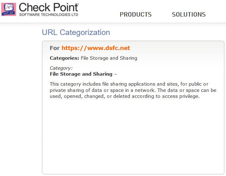 Check Point > URL Categorization