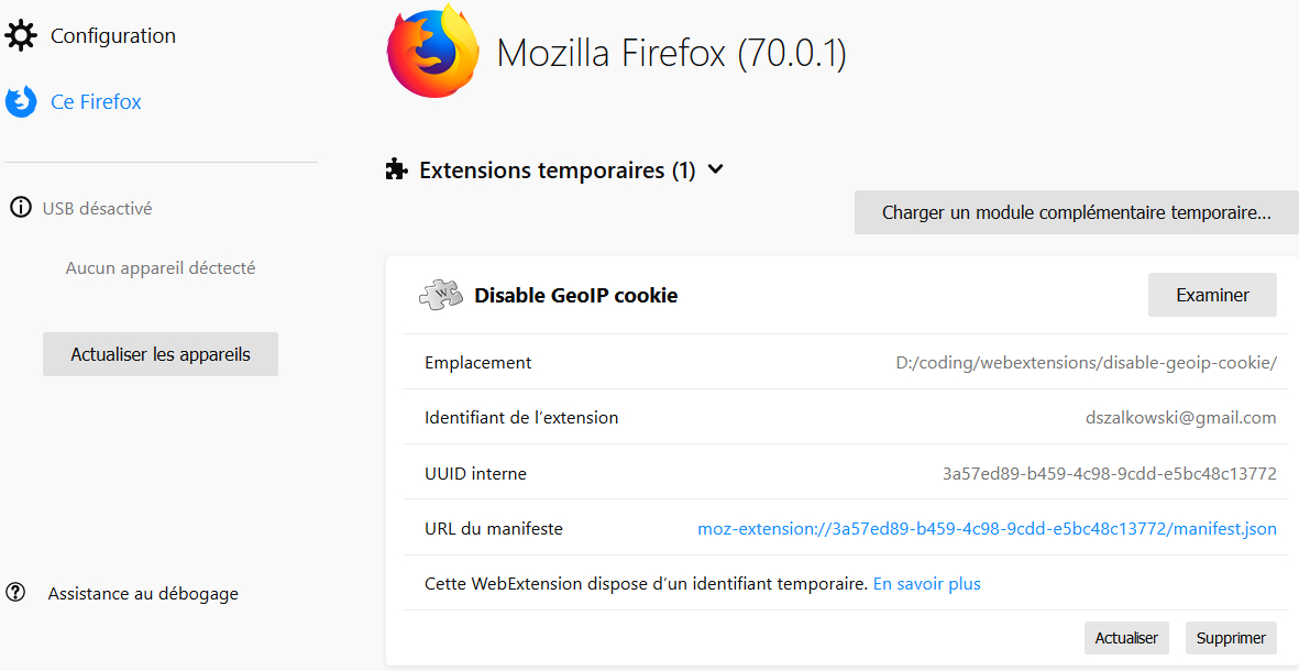 Firefox > about > debugging > runtime > this-firefox