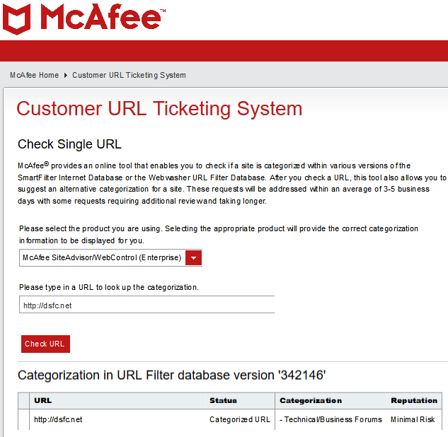 McAfee >  Customer URL Ticketing System > Check Single URL