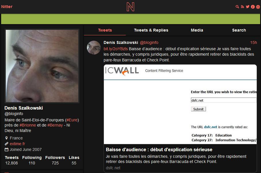 Nitter fournit le fil RSS de la timeline Twitter !