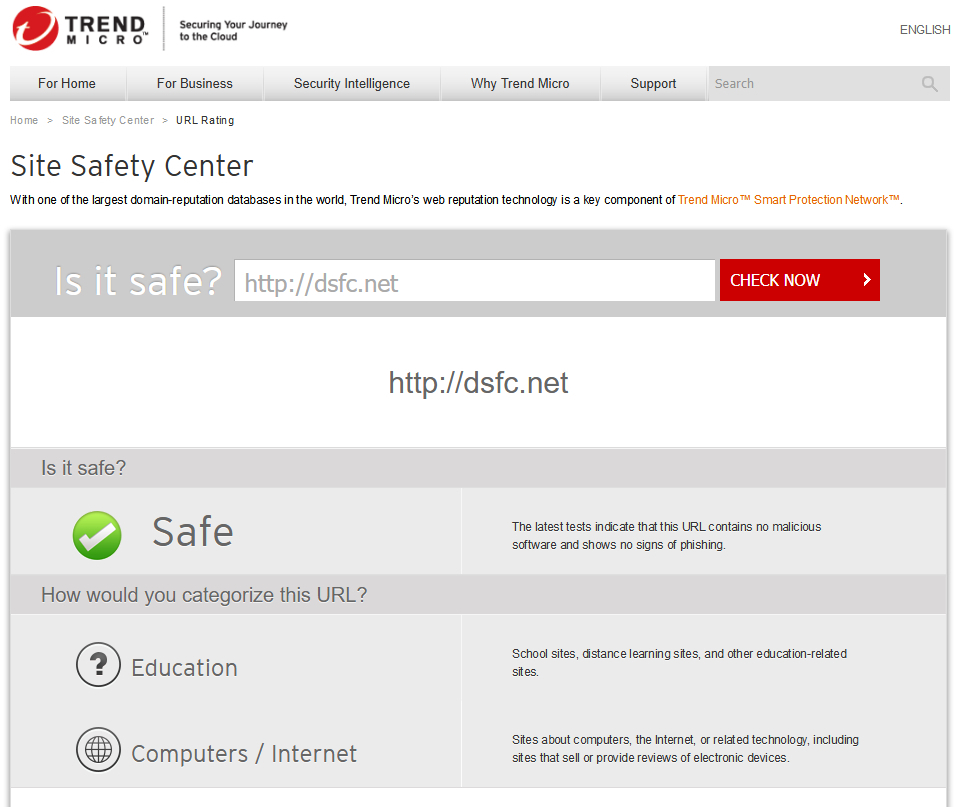 Trend Micro > Site Safety Center