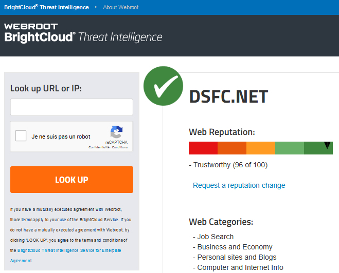 Webroot BrightCloud Threat Intelligence > Web Reputation