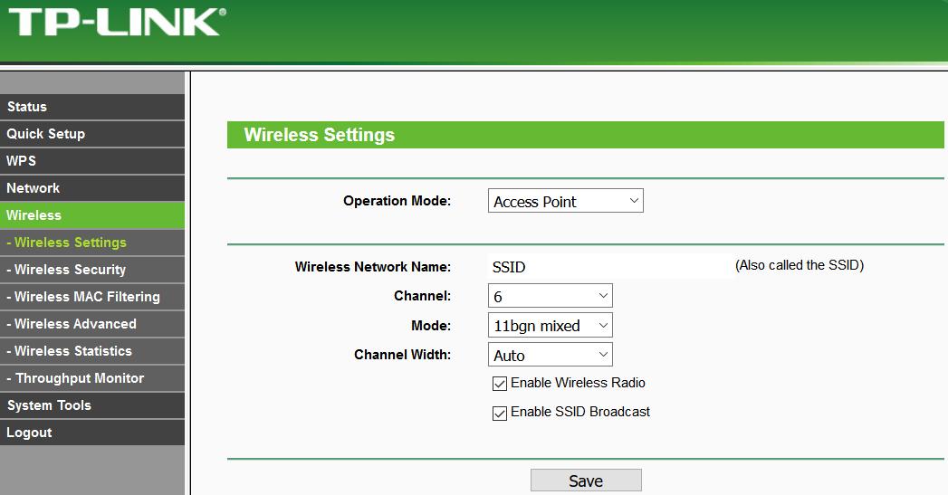 AP TP-LINK> Wireless Settings