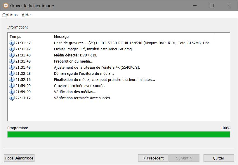 Graver l'image DMG d'un Mac OS X sous Windows