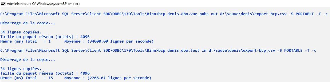SQL Server : exportation et importation de données avec bcp