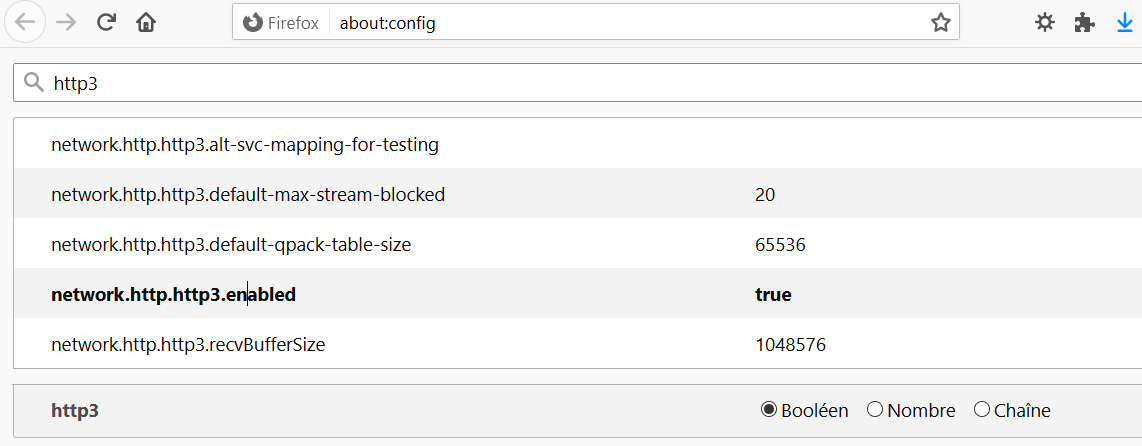 Firefox > about:config > network.http.http3.enabled > true