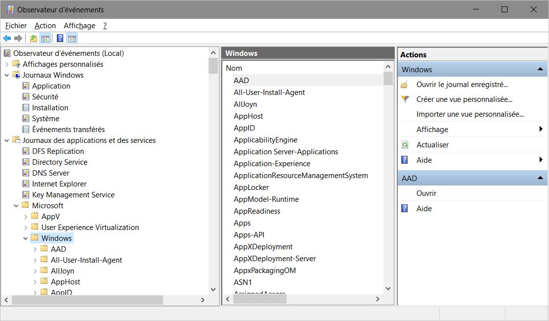 Observateur d'événements > Journaux des applications et des services > Microsoft > Windows