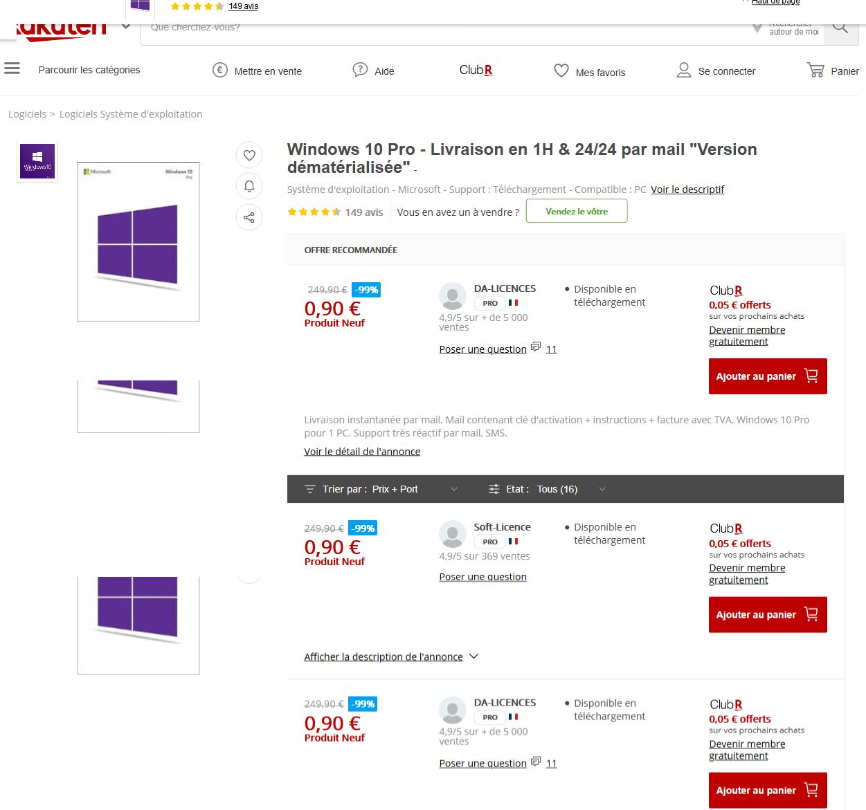 Mieux, des licences Windows 10 Pro à moins de 1 euro chez Rakuten ?