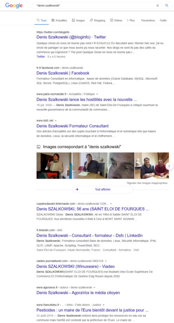 """Recherche dans Google sur """"Denis Szalkowski"""""""