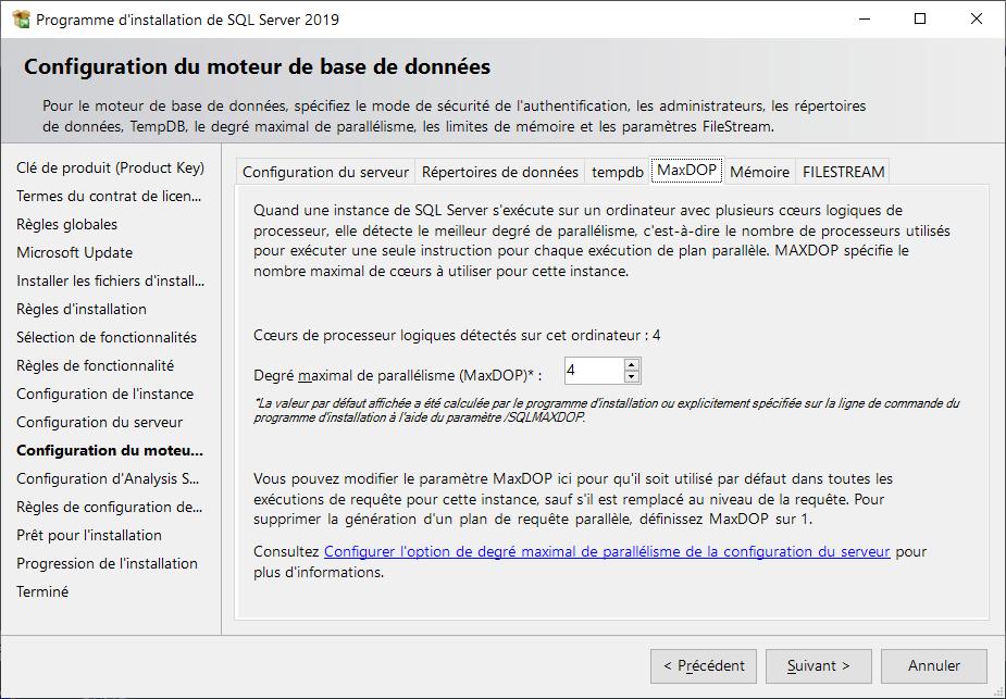Programme d'installation de SQL Server 2019 > Configuration du moteur de bases de données > MaxDOP